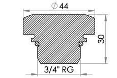 "Small technical drawing of 03-475 Gewinde Stöpsel einschl. O-Ring mit G 3/4"" Gewinde"