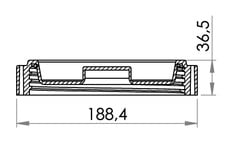 Small technical drawing of 03-569 Large, heavy duty HDPE Cap with Gasket, 146 mm