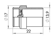 Small technical drawing of 03-594 Pressure / inflation valve, Grey, ABS For Tubes