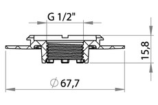 Small technical drawing of 03-606 Bride filetée en plastique avec filetage intérieur G1/2