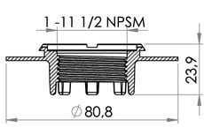 "Small technical drawing of 03-609 HF/ultrasonic weldable flange with internal American NPSM 1"" thread"