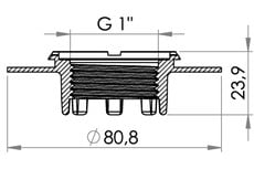 "Small technical drawing of 03-611 HF/ultrasonic weldable flange with internal G1"" thread (BSP 1"")"