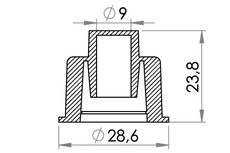 Small technical drawing of 03-625 PVC Einsatz für 03-628
