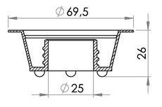 Small technical drawing of 03-628 Presunk threaded filler flange, 25 mm