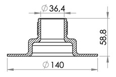 "Small technical drawing of 03-634 Kunststoff Schraubflansch 1½"" (36.4 mm) - FDA/BGA"