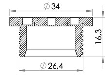 Small technical drawing of 03-645 Coin Groove Cap for weldable flange 03-601