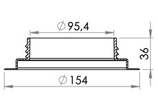 Small technical drawing of 03-734 Threaded PVC Filler Neck, 98 mm