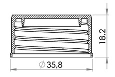 Small technical drawing of 03-935 Screw Cap, 25 mm for weldable nozzle