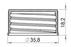Small technical drawing of 03-936 Plastic Cap, 25 mm for weldable nozzle, w/wo gasket