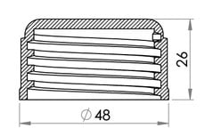 Small technical drawing of 03-974 Threaded plastic Cap for 34 mm nozzle