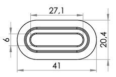 Small technical drawing of 04-134 PVC Öse, Oval, 6/27 mm