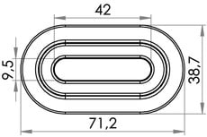Small technical drawing of 04-204 PVC Eyelet Oval, 9/42 mm