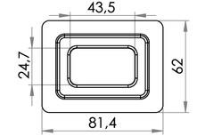 Small technical drawing of 04-205 Square plastic Eyelet, 24/43 mm