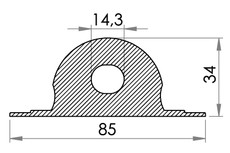 Small technical drawing of 05-046 Reinforced strong PVC Cleat / line support, heavy duty