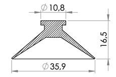 Small technical drawing of 05-132 Plastik sugekop