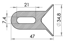 Small technical drawing of 05-145 PVC Corner with loop