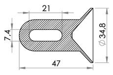 Small technical drawing of 05-145 Coin en PVC avec boucle