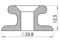 Small technical drawing of 05-201 PEHD Anchoring Point For Ladder strap