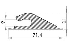 Small technical drawing of 05-431 Crochet de bâche en plastique