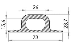 Small technical drawing of 05-446 Pontet en PVC/PUR, 26/15 mm