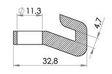 Small technical drawing of 05-932 Crochet de PE pour ventouse