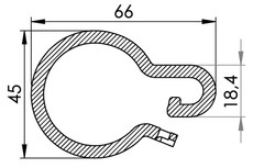 Small technical drawing of 06-141 Plastic curtain ring