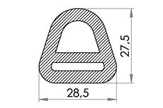 Small technical drawing of 06-811 Anneau en A en nylon, 20 mm