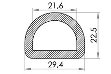 Small technical drawing of 06-832 Anneau en D en nylon, 22 mm