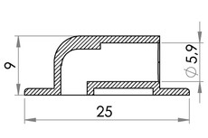 Small technical drawing of 09-002 Connexion angle PVC/PUR