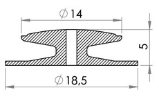 Small technical drawing of 09-099 PVC Button 13.9 mm