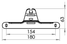Small technical drawing of 09-113 Hanger for medical bags, with Hooks, 154mm