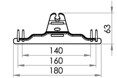 Small technical drawing of 09-114 Urinbeutelhanger mit Stifte, 140/160/180 mm