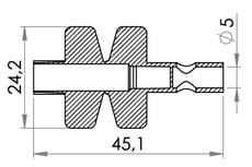 Small technical drawing of 09-126 Spike Port, Short