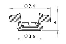 Small technical drawing of 09-132 Fixation de sécurité POM, femelle