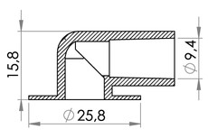 Small technical drawing of 09-210 Raccord coudé médical 90° avec arrêt de tube