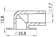 Small technical drawing of 09-212 Medical 8 mm Elbow Connection 90° With Tube Stop