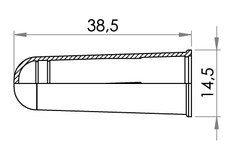 Small technical drawing of 09-538 Capuchon PEHD pour le connecteur 09-739
