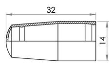 Small technical drawing of 09-542 Protection Cap for connector 09-637, 09-643, 09-742