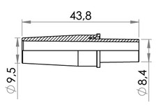 Small technical drawing of 09-637 Connector, Tapered, large