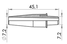 Small technical drawing of 09-641 PVC Schlauchverbinder / Stufenverbinder, medium
