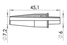Small technical drawing of 09-643 Connector, Tapered, Small