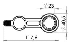 Small technical drawing of 09-675 PVC Drain / Filler port , 23 mm