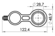 Small technical drawing of 09-677 PVC Filler/Drain port, 28 mm