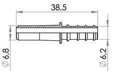 Small technical drawing of 09-727 Kunststoff Schlauchverbindungsrohr, lang