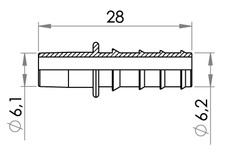 Small technical drawing of 09-728 Connecteur de tubulure, court