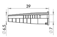 "Small technical drawing of 09-737 Tube Connector, Stepped for 6.3 mm (1/4"") OD tube"