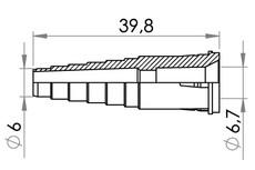 """Small technical drawing of 09-739 Kunststoff schlauchverbinder  mit Schlauchstop für 6,3 mm (1/4"""") OD schlauch"""
