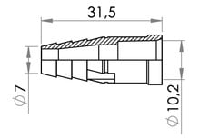 Small technical drawing of 09-742 PVC Connector, Barbed for medical tubing