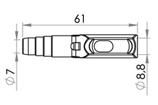 Small technical drawing of 09-785 PVC Stufenverbinder mit Standard probenentnahme für 9 mm Schlauch