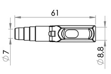 Small technical drawing of 09-795 Needle-free Sample Port Connector for 9 mm tubing, Stepped